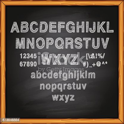 Alphabet and Lettering on chalkkboard