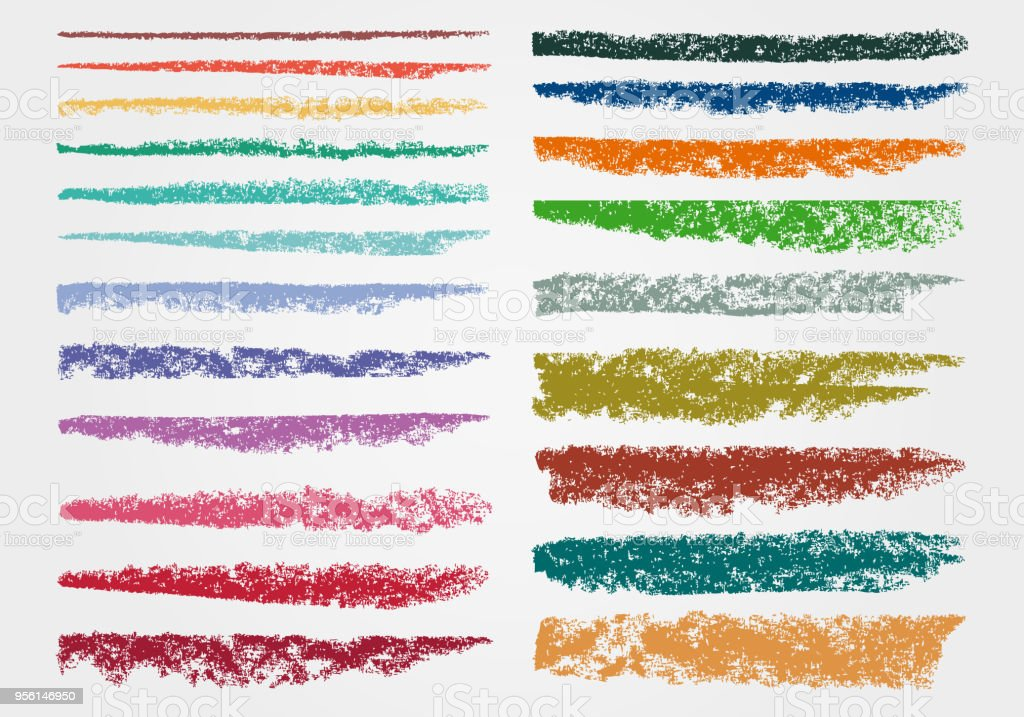 chalk and charcoal a set of colors vector brushstrokes grunge