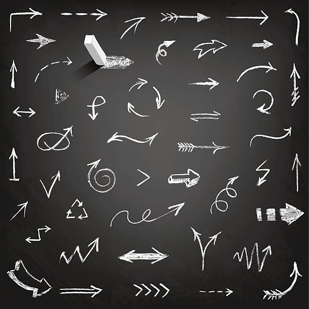 chalk pfeile-kollektion - kreide weiss stock-grafiken, -clipart, -cartoons und -symbole