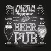 Beer poster typography. Vector vintage lettering. Chalkboard design elements for beer pub. Beer advertising.