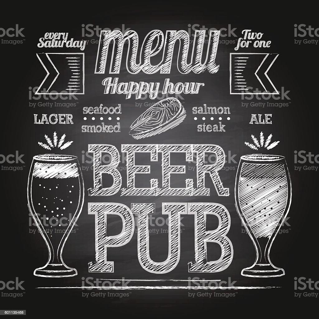 Chalk beer glass on blackboard vector art illustration