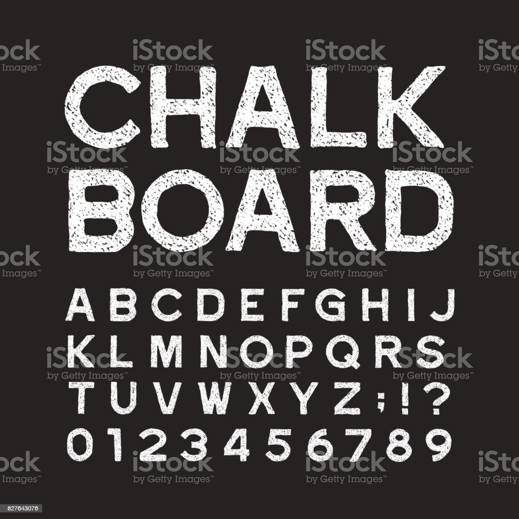 Chalk board alphabet font. Distressed vintage letters and numbers. royalty-free chalk board alphabet font distressed vintage letters and numbers stock illustration - download image now