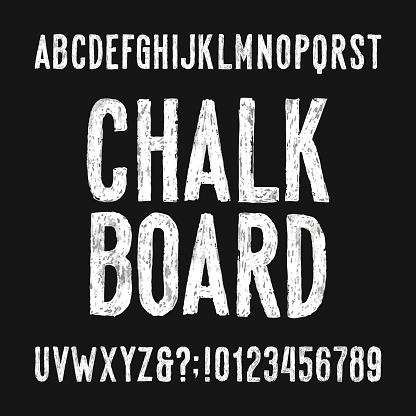 Chalk board alphabet font. Hand drawn damaged sans serif letters.