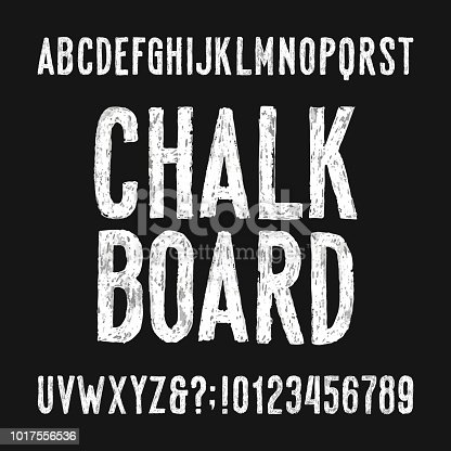 Chalk board alphabet font. Hand drawn damaged sans serif letters, numbers and symbols. Stock vector typeface.