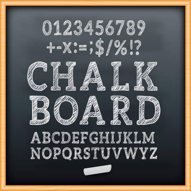 bildbanksillustrationer, clip art samt tecknat material och ikoner med krita styrelsen alfabetet teckensnitt vektor - svarta tavlan