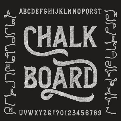 Chalk board alphabet font with alternates