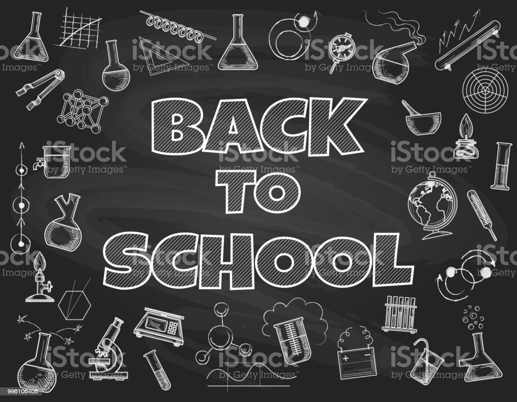 chalk board back to school backdrop stock vector art more images