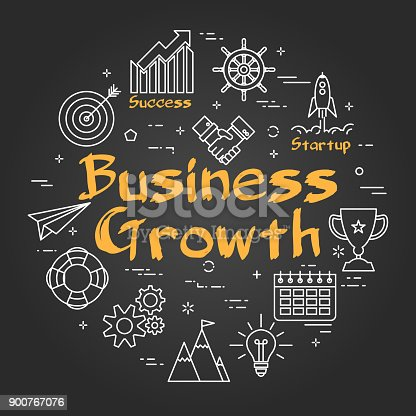 Vector linear round concept of Business Growth. Thin line icons of management, planning and startup. Modern web banner on on black chalk board