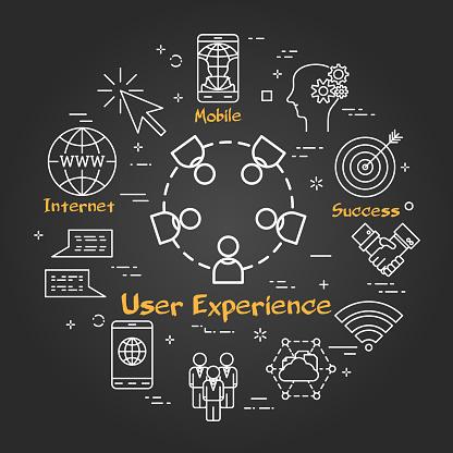 Chalk board concept - User Experience icon