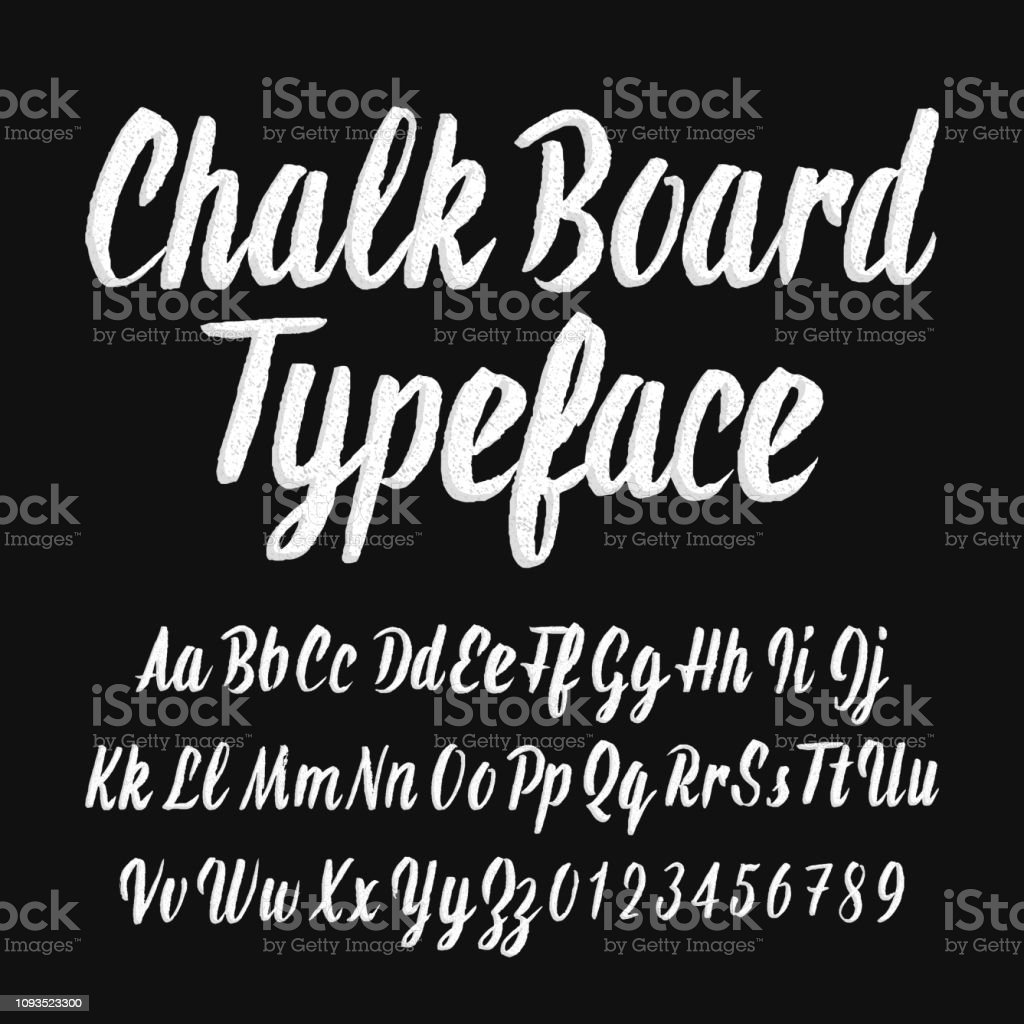Chalk board typeface. Handwritten uppercase and lowercase letters and numbers. royalty-free chalk board typeface handwritten uppercase and lowercase letters and numbers stock illustration - download image now