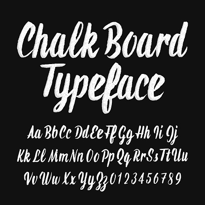 Chalk Board Typeface Handwritten Uppercase And Lowercase Letters And Numbers Stock Illustration - Download Image Now
