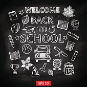 Chalk board Welcome back to school,with thematic elements:school bus,chemical flasks,apple,cup,graduate cap,pencil,book,microscope,alarm clock,autumn leaves,globe,a scroll,a ruler,a basketball