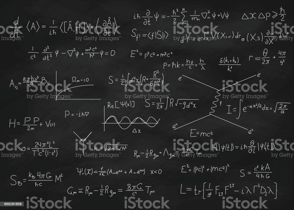 Chalk board with formulas vector art illustration