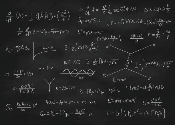 Chalk board with formulas Science blackboard with math. Real physical equations of Einstein relativity theory, string theory and quantum mechanics principles. Used chalkboard with scratches and stains from chalk piece. mathematical formula stock illustrations