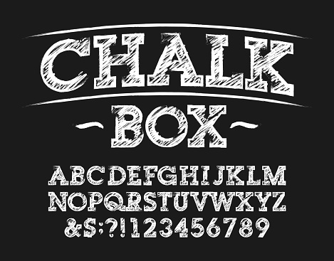 Chalk Box alphabet font. Handwritten letters, numbers and symbols.