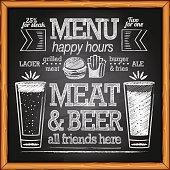 Beer menu lettering  on chalkboard