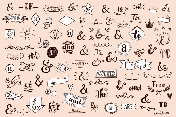 kreda catchwords, wstążki, ampersands elementy projektu zestaw. w, do, dla,, z, z, przez, i, od. retro zestaw wektorów . - bazgroły rysunek stock illustrations