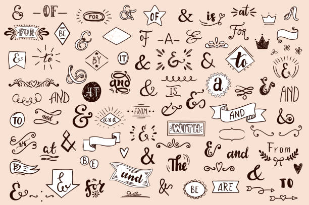chalk catchwords, ribbons, ampersands design elements set. at, to, for, the, of, with, by, and, from. retro vector set . - szkic rysunek stock illustrations