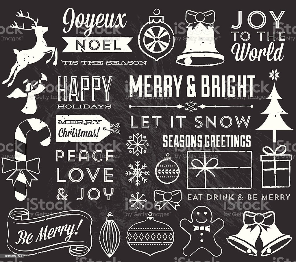 Chalk Christmas Elements royalty-free stock vector art