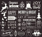 Set of Christmas chalk design elements.  Colors are global and file is layered for easy editing.  Texture can be removed.  Download includes zipped AI CS4 file with editable text.