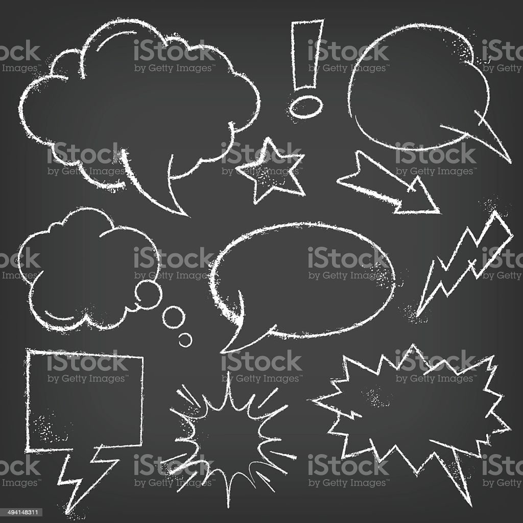 Chalk Comic bubbles and elements on a blackboard royalty-free chalk comic bubbles and elements on a blackboard stock vector art & more images of anger