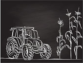 chalkboard illustration of a corn field and tractor