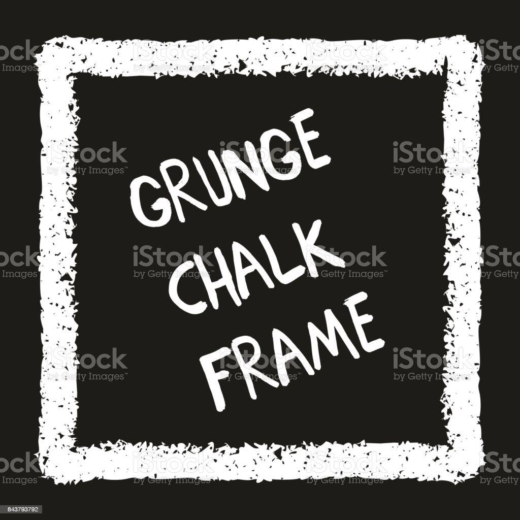 Chalk crayon square on black vector art illustration