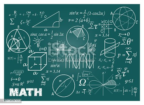 Chalk doodle math blackboard. Chalkboard, formulas, shapes, geometry. Education concept. Vector illustrations can be used for back to school topic, algebra, science