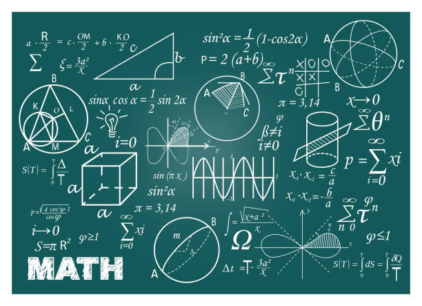 Chalk doodle math blackboard Chalk doodle math blackboard. Chalkboard, formulas, shapes, geometry. Education concept. Vector illustrations can be used for back to school topic, algebra, science mathematical symbol stock illustrations