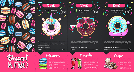 Chalk drawing dessert menu design with sweet french macaroons and donuts