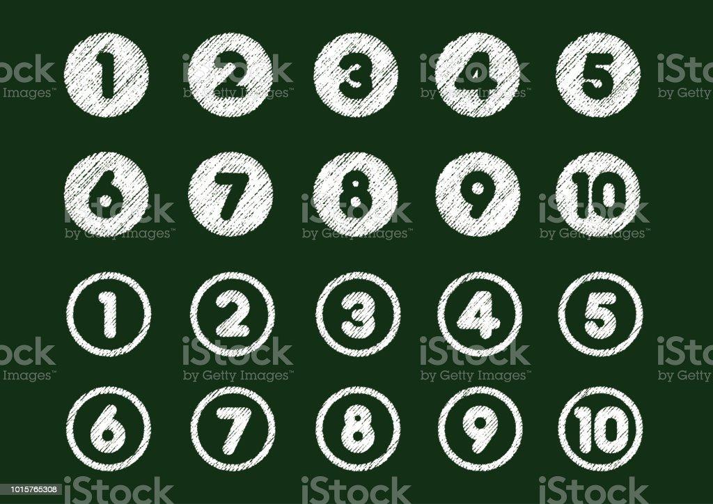 チョーク (1 ~ 10) 設定図面番号アイコン ロイヤリティフリーチョーク 設定図面番号アイコン - いたずら書きのベクターアート素材や画像を多数ご用意