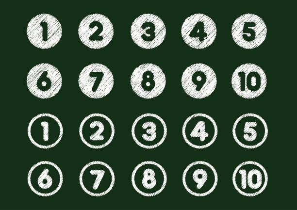 kreide zeichnung nummer iconset (von 1 bis 10) - kreide weiss stock-grafiken, -clipart, -cartoons und -symbole
