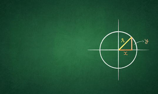 A green color blackboard with a pair of axes, axis denoting the four quadrants. A circle with centre, center as origin, ithe intersection of the axes. A right triangle is made with hypotenuse as radius of the circle labelled as r, the base x and the altitude or perpendicular y over a grungy textured color gradient board. The geometric figure is hand drawn in peach, yellow and orange colored chalks. The sides of the triangle are marked in small case letters or alphabets. The lines in the figure are very neatly drawn. The drawing is to the right in the frame and copyspace to the left. No people. The blackboard has a green gradient with dark corners and sides while the middle or center is in a lighter tone
