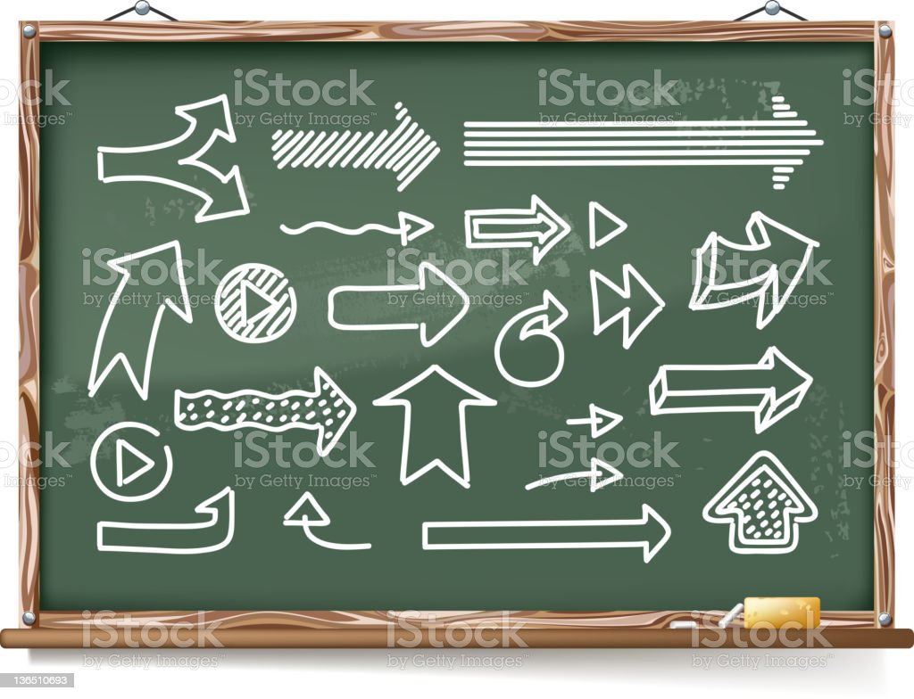 chalk drawing of arrow sign on blackboard royalty-free stock vector art