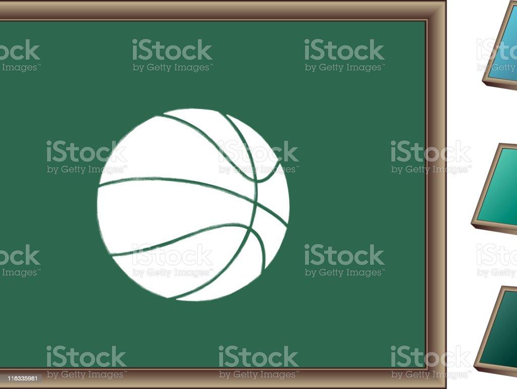 Chalk drawing of basketball on blackboard royalty-free stock vector art