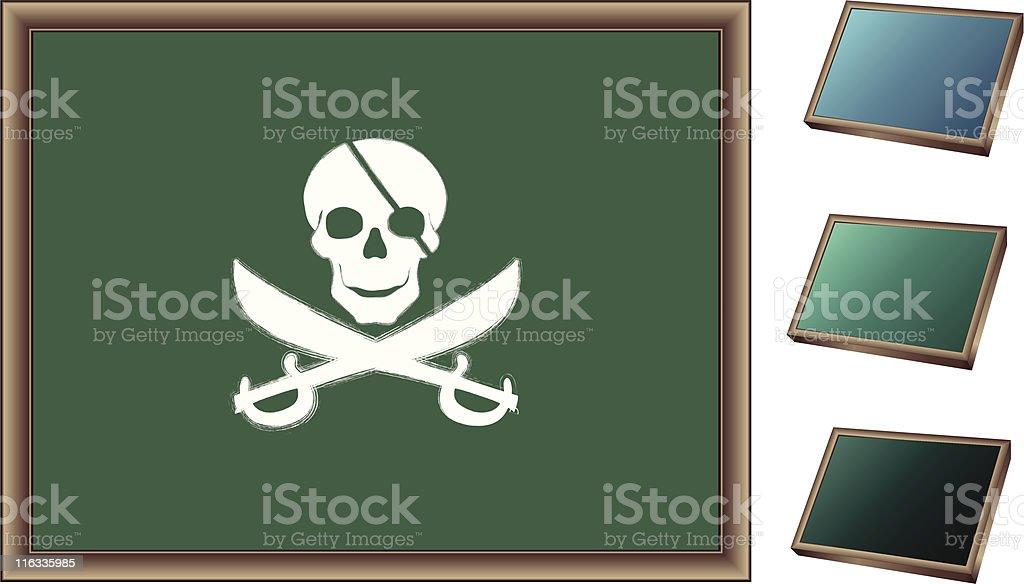 Chalk drawing of pirate skull on blackboard; royalty-free chalk drawing of pirate skull on blackboard stock vector art & more images of blackboard