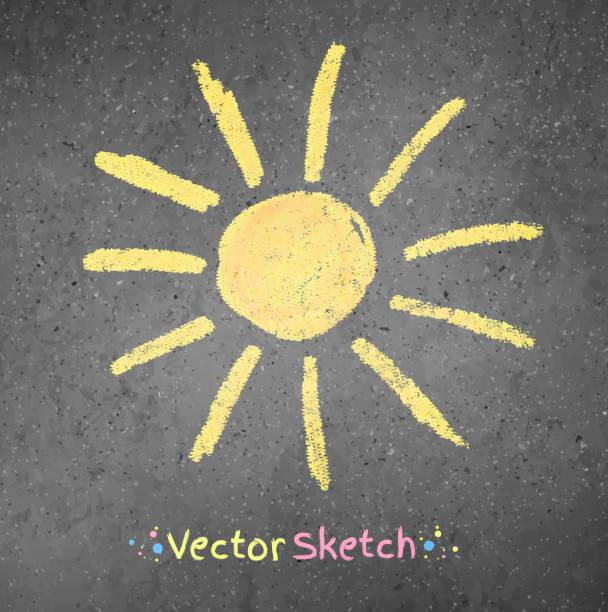 stockillustraties, clipart, cartoons en iconen met chalk drawing of sun - stoep