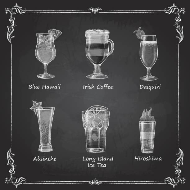 Chalk drawings. cocktail menu Chalk drawings. cocktail menu irish coffee stock illustrations