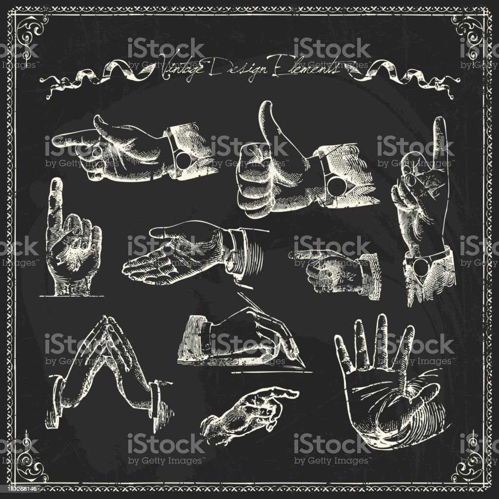 Chalk drawings of different hand gestures royalty-free stock vector art