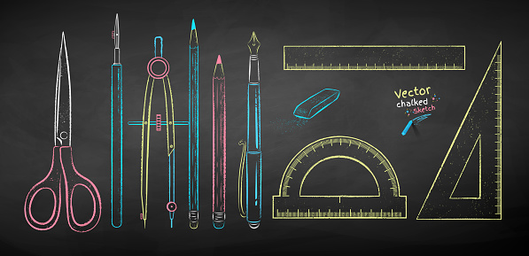 Chalk drawn collection of drafting tools