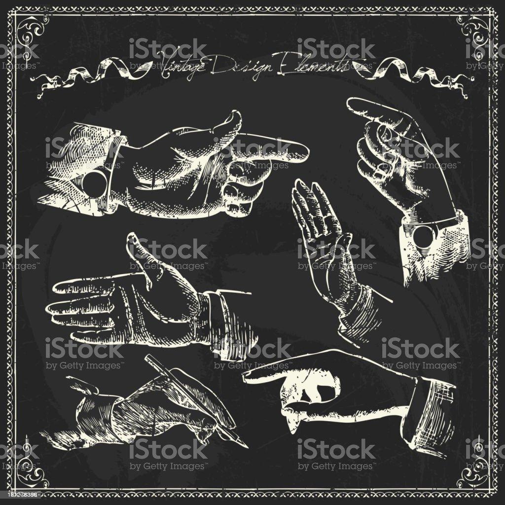 Chalk drawn hand design elements royalty-free stock vector art