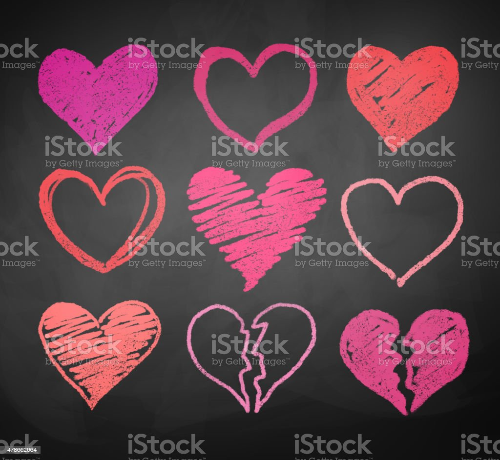 Chalk drawn hearts. vector art illustration