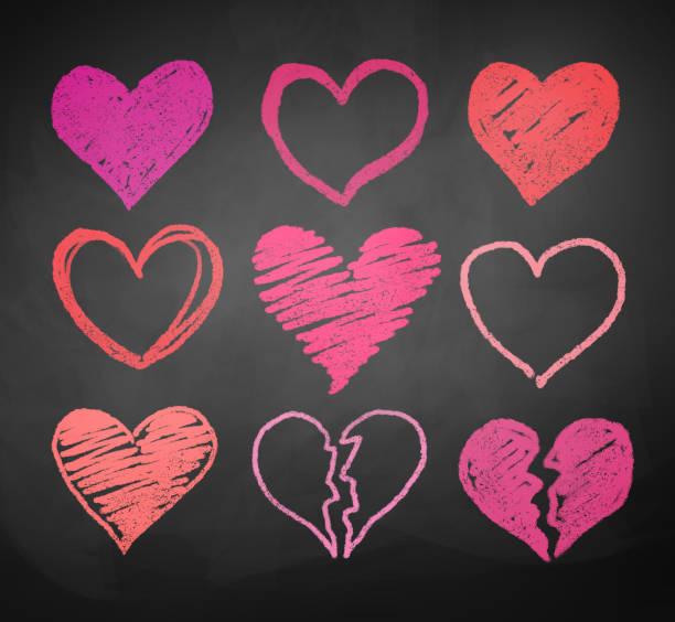 stockillustraties, clipart, cartoons en iconen met chalk drawn hearts. - liefdesverdriet