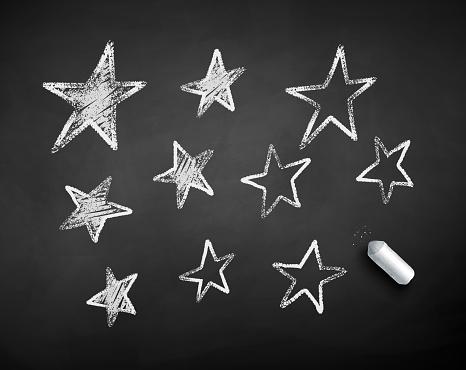 Chalk drawn illustration of stars