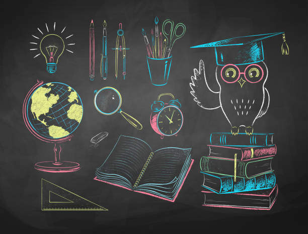 chalk drawn  illustrations of education items - классная доска stock illustrations