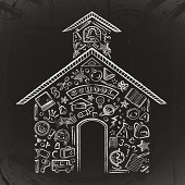 Chalk drawn school icons / symbols create this old fashioned schoolhouse on a blackboard. Great for Back to School.