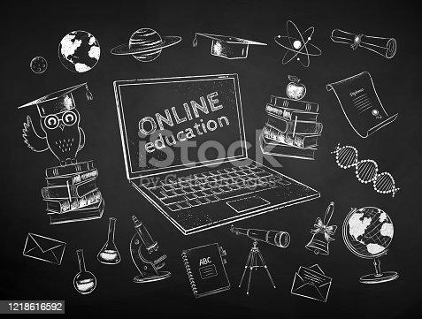 istock Chalk drawn set of online education items 1218616592