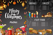 Chalk drawning Christmas menu design. Winter design template for cafe, restaurant. Food, beverages and holiday elements in hand drawn sketch style. Vector illustration.