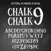 Chalk style alphabet conating uppercase letters, numbers and special symbols. all white on blackboard textured background