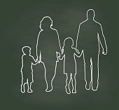 Chalk Family Walking Hand In Hand